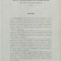 Notice sur l'Institut international de physique Solvay : épreuve - 1912