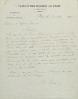 Lettre de Marie Curie à Walther Nernst