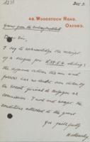 Lettre d'Henry Moseley au Comité scientifique de l'Institut international de physique Solvay