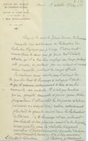 Lettre d'Aimé Cotton à la Commission administrative de l'Institut international de chimie Solvay