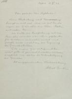 Lettre d'Albert Einstein à Charles Lefébure