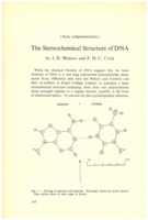 Extrait de WATSON James .D. et CRICK Francis H.C., « The Stereochemical Structure of DNA&nbsp;» dans Institut international de chimie Solvay (1953). <em>Les protéines: rapports et discussions : neuvième Conseil de chimie tenu à l'Université de Bruxelles du 6 au 14 avril 1953.</em> 1953: R. Stoops