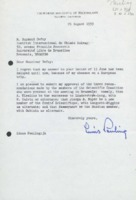 Lettre de Linus Pauling à Raymond Defay