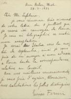 Lettre d'Enrico Fermi à Charles Lefébure