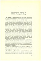 Extrait de la « discussion des rapports de MM. L. Pauling et L. Bragg »&nbsp;dans Institut international de chimie Solvay (1953). L<em>es protéines: rapports et discussions : neuvième Conseil de chimie tenu à l'Université de Bruxelles du 6 au 14 avril 1953.</em> 1953: R. Stoops
