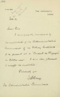Lettre de William Henry Bragg à la Commission administrative de l'Institut international de physique Solvay
