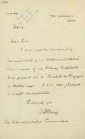 Lettre de William Henry  Bragg à la Commission administrative de l'Institut international de physique Solvay
