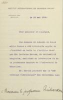 Lettre de Charles Lefébure à Owen Willans Richardson