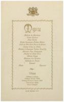 Banquet : menu, deuxième Conseil de physique Solvay
