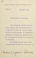 Lettre de Charles Lefébure à Blas Cabrera