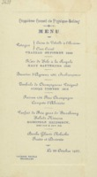 Banquet : menu n°1, cinquième Conseil de physique Solvay